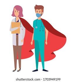 super docteur femme et ambulancière avec héros cape image vectorielle création
