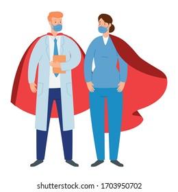 super médecin homme et ambulancière femme avec héros cape image vectorielle création