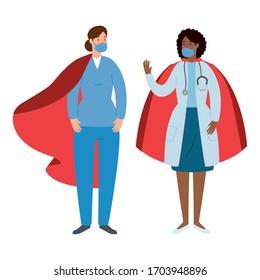 super médecin et ambulancière avec héros cape, illustration vectorielle