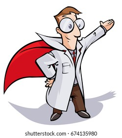 Super Doctor or Scientist cartoon character.