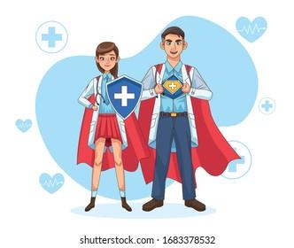 super doctors couple with hero cloak and shield vs covid19 vector illustration design