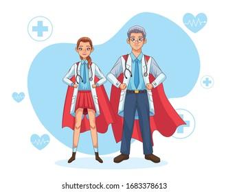 super doctors couple with hero cloak vs covid19 vector illustration design