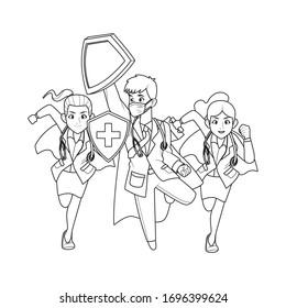 super doctors staff comic characters vector illustration design