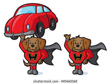 Super dog and car