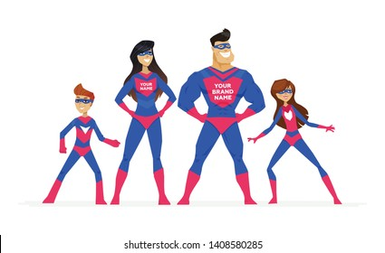Super family - cartoon people characters colorful illustration