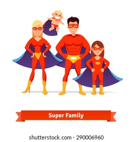 Super family. Superhero man father, woman mother, girl daughter and baby. Flat style vector illustration.