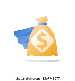Super fast cash loan, provide more money, quick financial help, large sum of money, big sack, business grant, fund raise, high interest, lucrative investment, vector icon, flat illustration