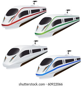 Super Fast train set isolated on white vector
