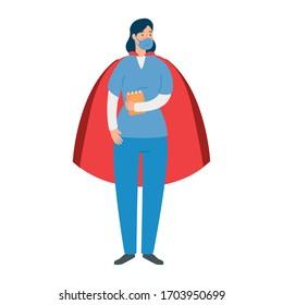 superfemelle paramédicale avec masque facial et voile hero dessin d'illustration vectorielle