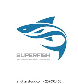 Super fish - vector logo template concept illustration. Shark abstract sign. Design element.