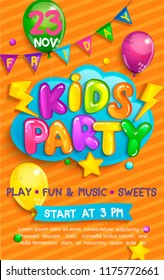 Super Flyer for kids party in cartoon style with sunburst background. Place for fun and play, kids game room for birthday party. Poster for children's playroom decoration. Vector illustration.