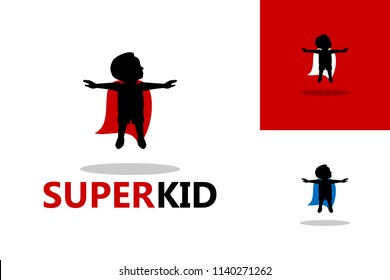 Super Flying Kid Logo Template Design Vector, Emblem, Design Concept, Creative Symbol, Icon