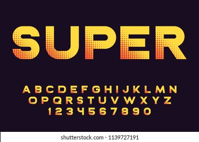 Super font with halftone gradient Modern sport design Futuristic letters and numbers Vector alphabet