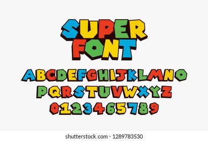 super font Vector of Colorful modern font and alphabet, games, t-shirt, kids, hero, funny