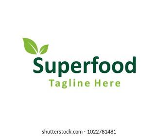 Super Food with Green Leaf Symbol Logo Vector