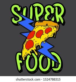 SUPER FOOD, SLOGAN PRINT VECTOR