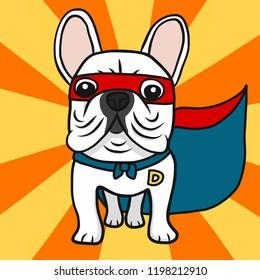 Super French Bulldog cartoon vector illustration doodle style