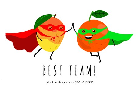 Super fruits. Smiling fruit superheroes vector illustration. Best team cute print isolated on white background