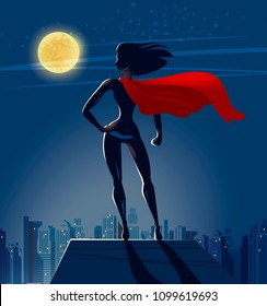 Super Girl, Superhero stands on roof of skyscraper and looks at night city. Cartoon vector illustration