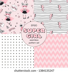 Super girl themed seamless vector pattern set. Conversational print with little cute girl hero characters. Abstract dotty and zigzag geometric backdrop. Cartoon comic thunder lights on doodle stripy