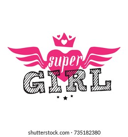 Super Girl - vector poster or print for girls clothes. Modern fashion t-shirt design. Super Girl lettering with crown and hearts