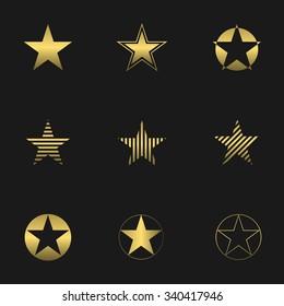 Super golden star logo set for your company