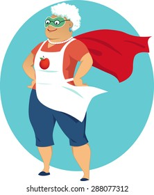 Super grandma, cartoon old lady in an apron and a superhero cape, no transparencies, EPS 8