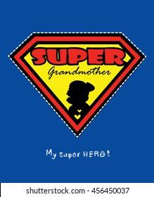 Super grandmother vector design card
