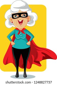 Super Granny Cartoon Vector Illustration.Strong elderly woman wearing superhero costume and cape