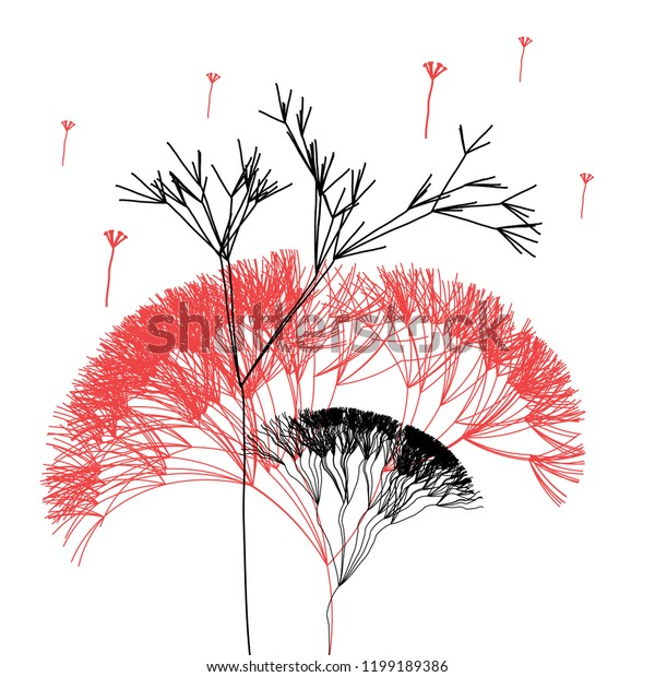 Super graphic beautiful vector trees in the forest on a white background
