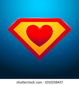 Super heart on blue background