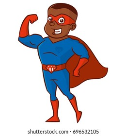 Super hero African-American man Cartoon character Isolated Vector illustration