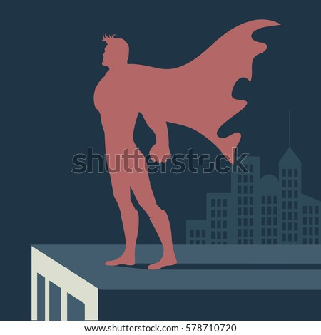 Super hero atop a skyscraper. Male super hero standing strong in a cityscape. EPS 10 vector.