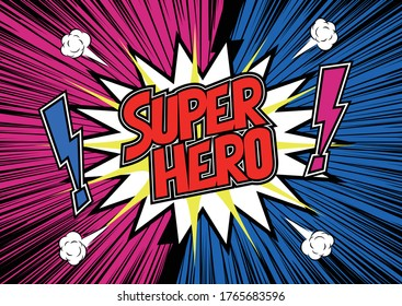 Super hero banner template. Super hero background with pop art style.