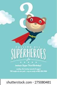 Super Hero Birthday Card Invitation Illustration
