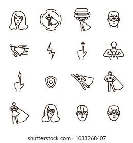 Super Hero Black Thin Line Icon Set Include of Power, Costume, Mask and Heroic Person. Vector illustration of Superhero