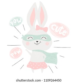 Super hero bunny cute baby print. Sweet rabbit girl with funny costume, mask and cape. Fashion child vector. Cool scandinavian illustration for t-shirt, kids apparel, invitation design