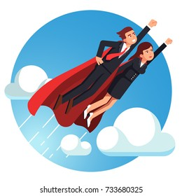 Super hero business man & woman in red capes flying fast above sky clouds with clenched fists. Metaphor of leadership & achievement. Flat style vector illustration isolated on white background.