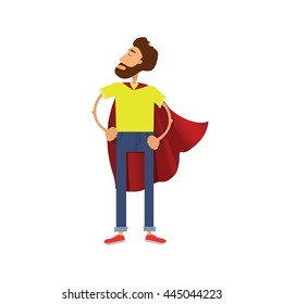 Super hero cartoon man. Male in red cloak of superhero