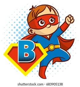Super hero character Letter B Superhero Vector Alphabet