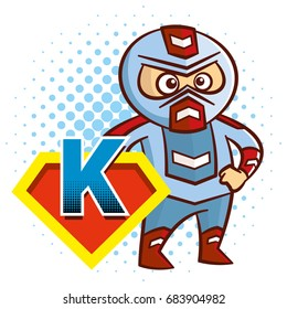 Super hero character Letter K Superhero Vector Alphabet