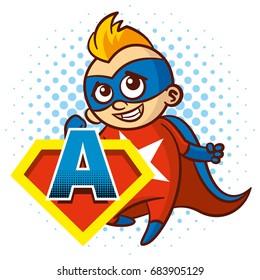 Super hero character Letter A Superhero Vector Alphabet