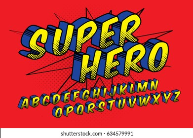 super hero/ comic style typography/ typeface design/ alphabets vector/illustration