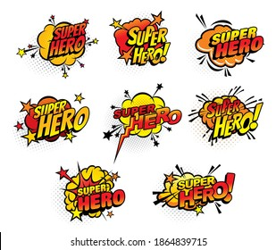 Super hero comics half tone bubbles isolated vector icons. Cartoon pop art retro sound cloud blast explosions with stars and dotted pattern. Boom bang colorful superhero symbols with typography set