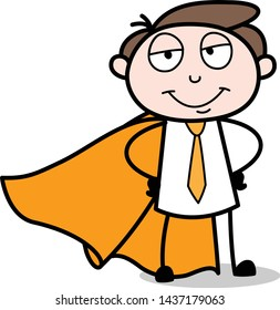 In Super Hero Costume and Smiling - Office Businessman Employee Cartoon Vector Illustration