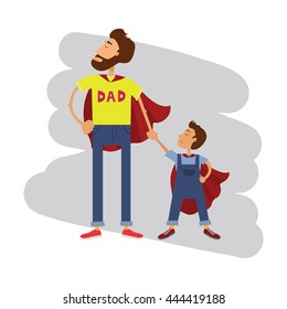 Super hero dad and son. Father and son family team. Cartoon superhero father and boy.