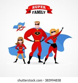 Super hero family - mom, daddy and children