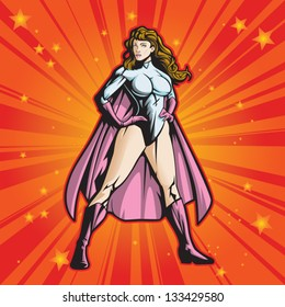 Super hero female standing heroicly. File is layered for easy editing.