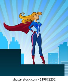 Super Hero - Female. Vector illustration isolated on a white background