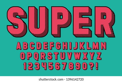 Super hero font 3d effect design letters and numbers Comic and cartoon style Vector retro alphabet